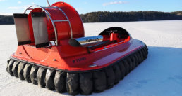 Hovercraft on snow frozen lake